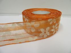 2 metres or 20 metre Roll 25mm Orange Wired Organza Sheer Flower Ribbon